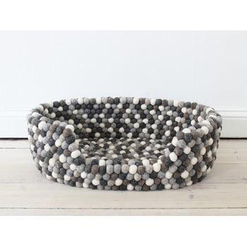 Pat cu bile din lână, pentru animale de companie Wooldot Ball Pet Basket, 40 x 30 cm, alb - gri