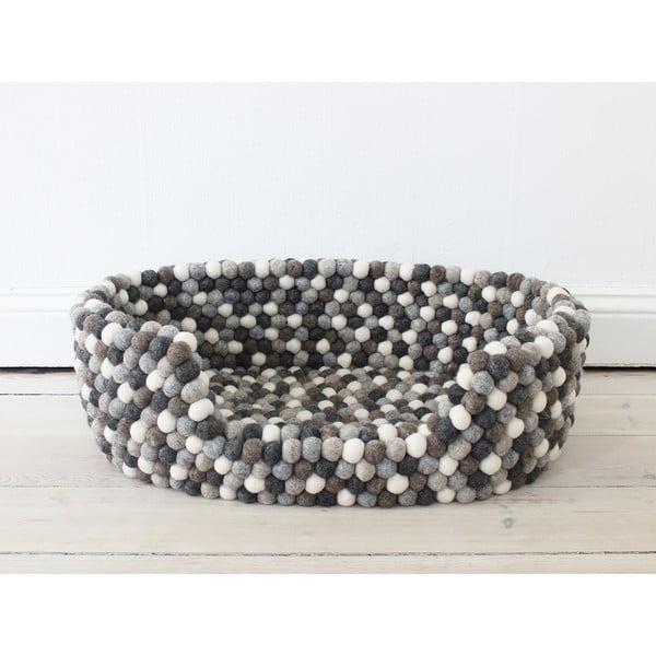Šedo-bílý kuličkový vlněný pelíšek pro domácí zvířata Wooldot Ball Pet Basket, 60 x 40 cm