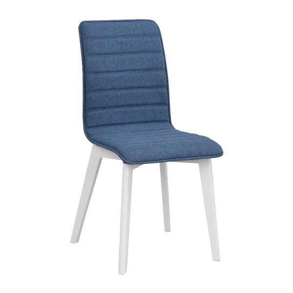 Modrá jedálenská stolička s bielymi nohami Rowico Grace