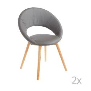 Sada 2 šedých jídelních židlí 13Casa Valencia