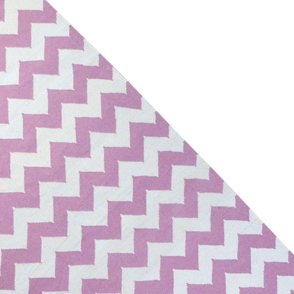 Vlněný koberec Geometry Zic Zac Pink & White, 160x230 cm