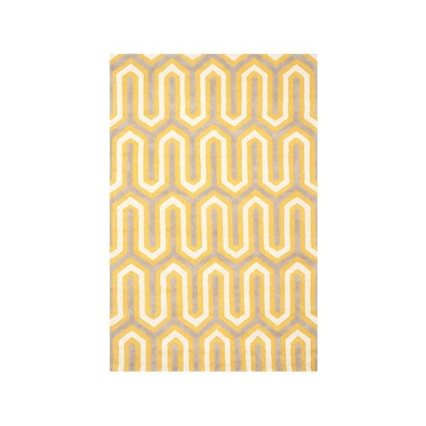 Vlněný koberec Leta, 121x182 cm, žlutý