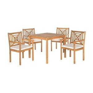 Hnědý set dřevěného venkovního stolu a židlí Safavieh Riva