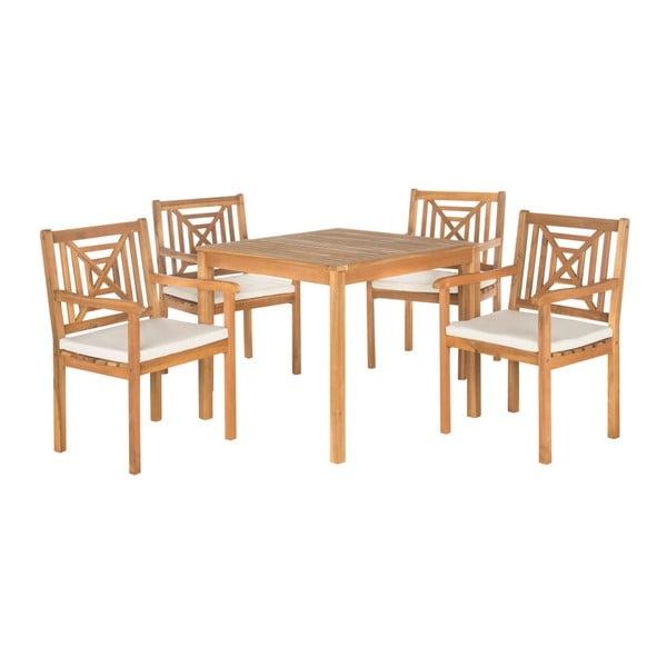 Zestaw stołu ogrodowego i krzeseł z drewna akacji Safavieh Riva