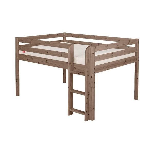 Brązowe wysokie łóżko dziecięce dla 2 osób z drewna sosnowego Flexa Classic, 140x200 cm