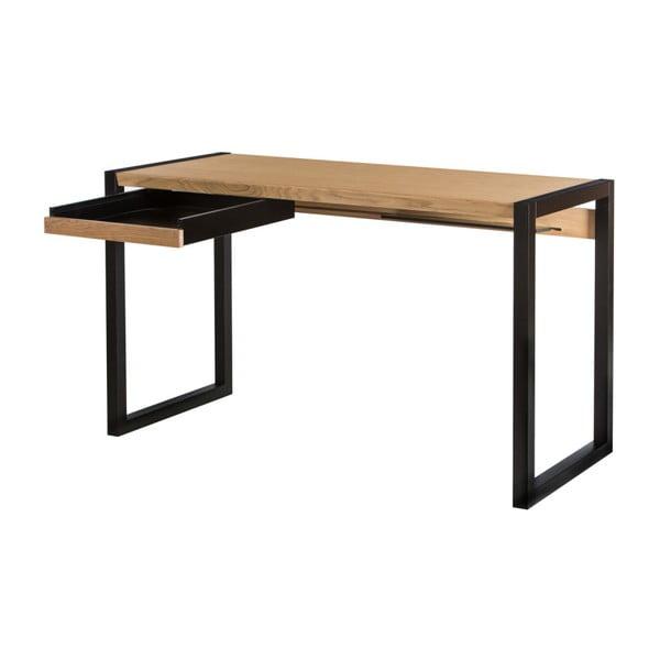 Pracovní stůl v dubovém dekoru s černými nohami We47 Renfrew, 126x55cm