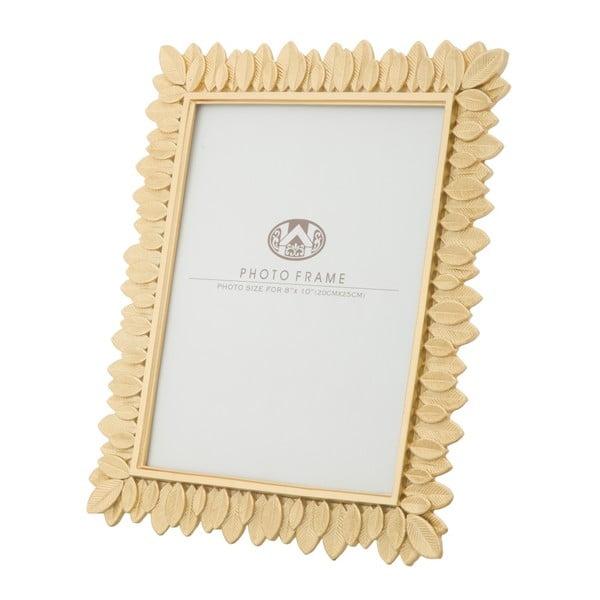 Žlutý fotorámeček v pryskyřicovém rámu Mauro Ferretti Glam Leaves, 20 x 25 cm