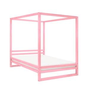Růžová dřevěná dvoulůžková postel Benlemi Baldee, 190x160cm