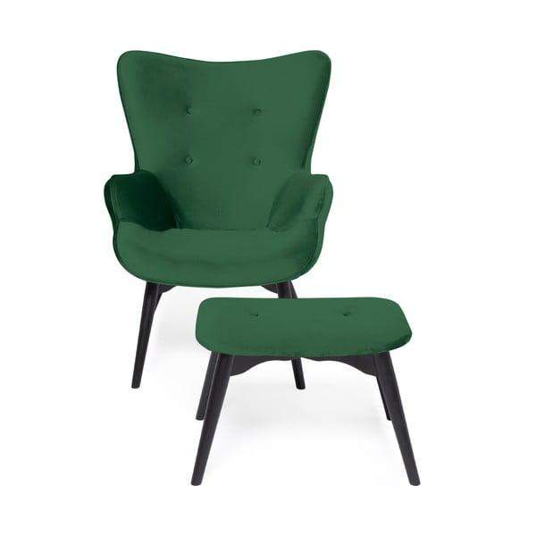 Smaragdově zelené křeslo a podnožka s podnoží v černé barvě Vivonita Cora Velvet