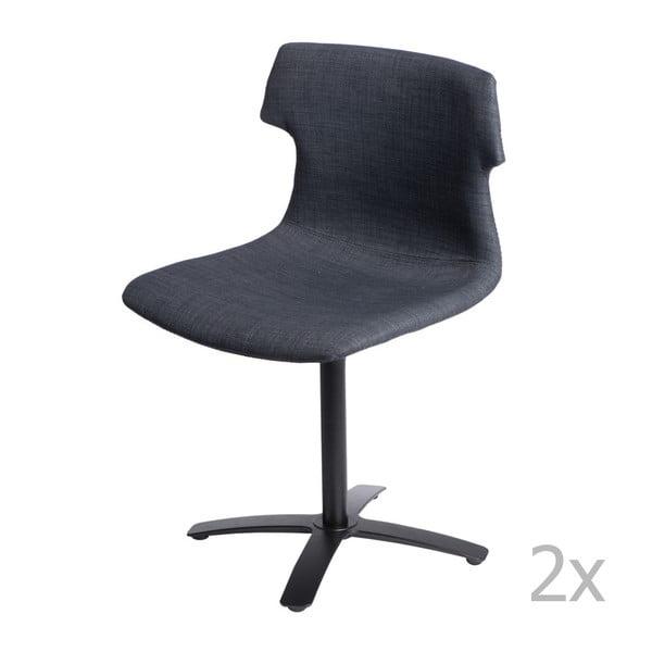 Sada 2 grafitových čalouněných židlí D2 Techno One