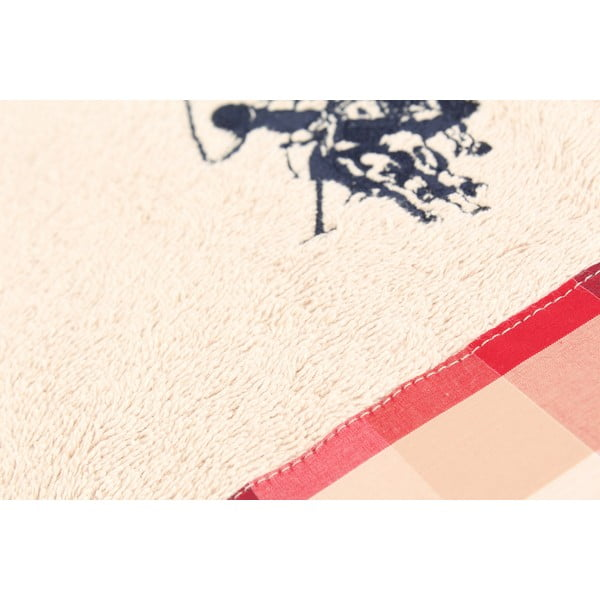 Osuška US Polo Bath Pink Check, 75x150 cm