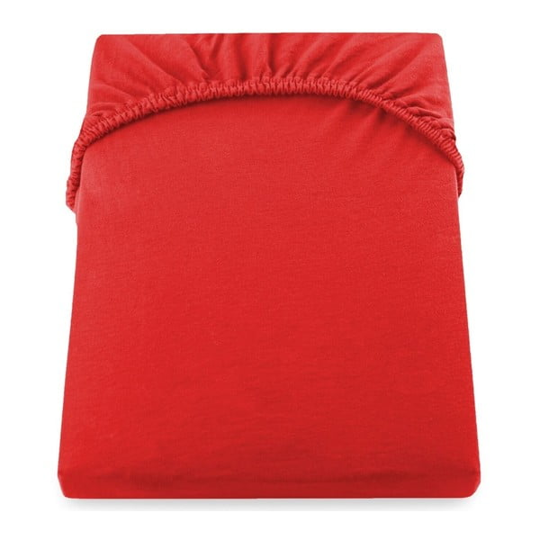 Červené elastické prostěradlo z mikrovlákna DecoKing Amber Collection, 180-200 x 200 cm