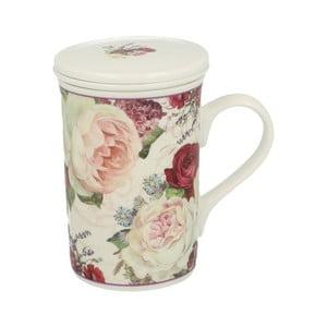 Porcelánový hrnek s filtrem s motivem květin Duo Gift Roses, 300 ml
