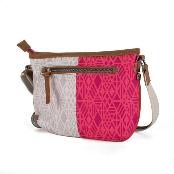 Růžovo-bílá kabelka Lois, 28 x 21 cm