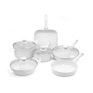 6dílný set nádobí s poklicemi a úchyty Bisetti Stonewhite Martina
