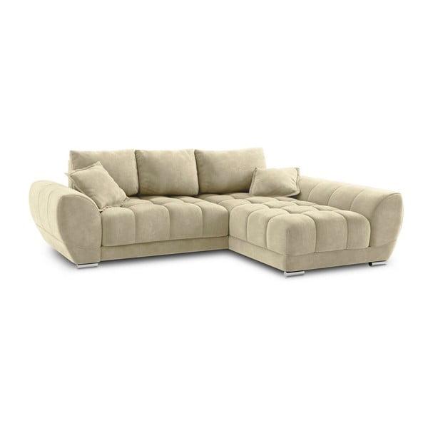 Canapea extensibilă cu înveliș de catifea Windsor & Co Sofas Nuage, pe partea dreaptă, bej