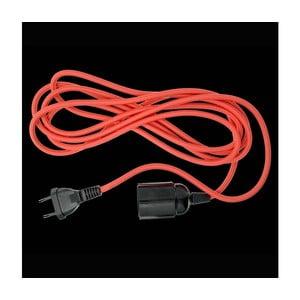 Textilní kabel s objímkou a zástrčkou, červený, 3 m