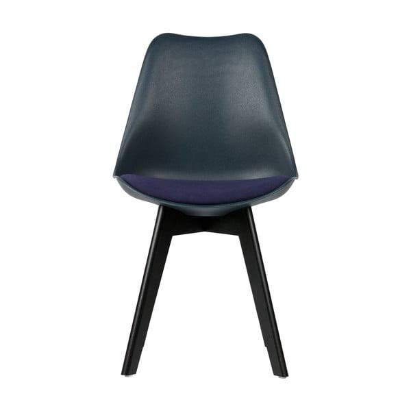 Sada 2 tmavě modrých židlí s nohami z borovicového dřeva WOOOD Stan