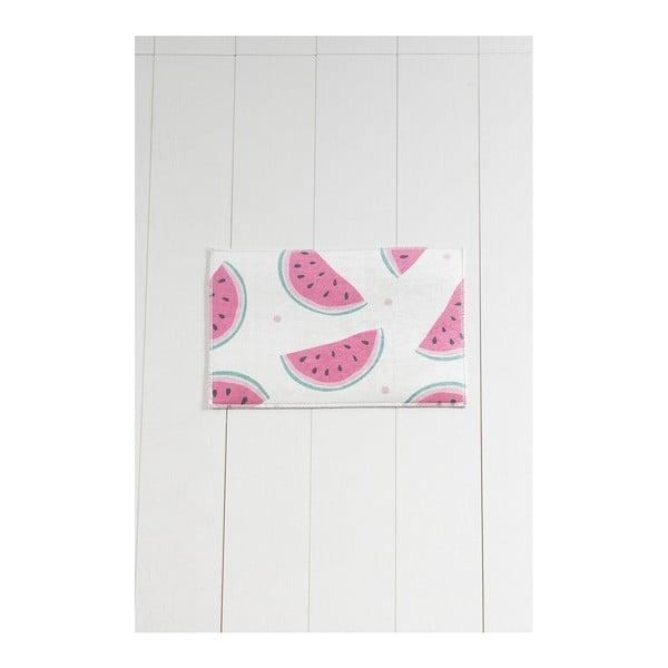 Bílo-růžová koupelnová předložka Tropica Watermelon, 60 x 40 cm