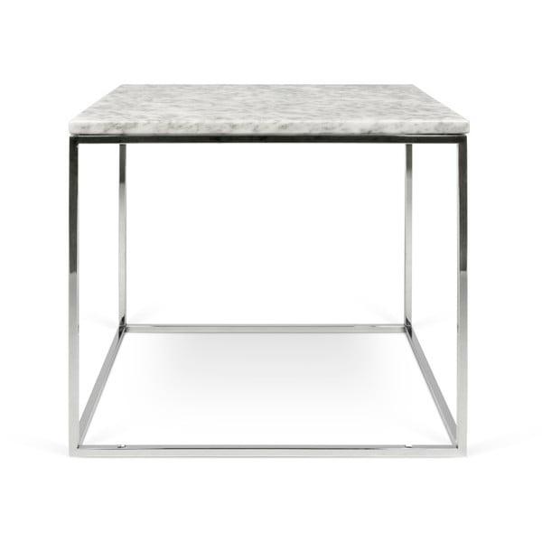 Gleam fehér márvány dohányzóasztal krómozott lábakkal, 50 x 50 cm - TemaHome