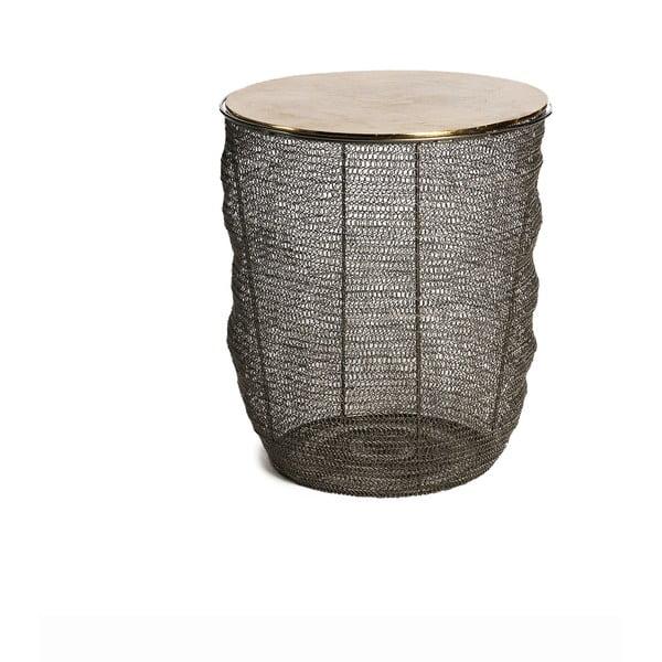 Stolik z blatem z aluminium w złotym kolorze Simla Round, ⌀ 46 cm