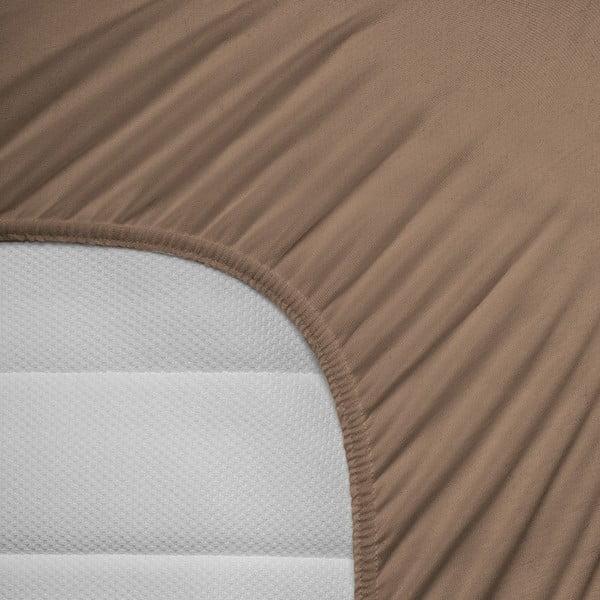 Hnědé elastické prostěradlo Homecare,190-200x200-220cm