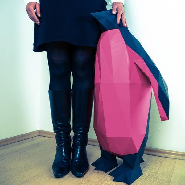 Papírová socha Tučňák XL, černo-růžový