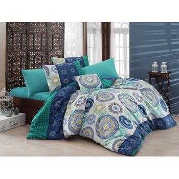 Lenjerie de pat cu cearșaf Turquoise, 200 x 220 cm de la Nazenin Home