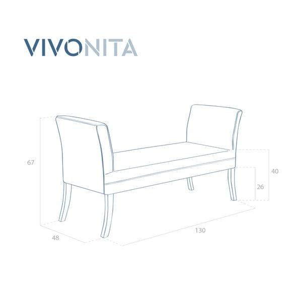 Šedá lavice Vivonita Selma Linen, 130x67cm