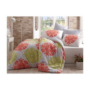 Lenjerie de pat cu cearșaf  din bumbac Aura, 160 x 220 cm