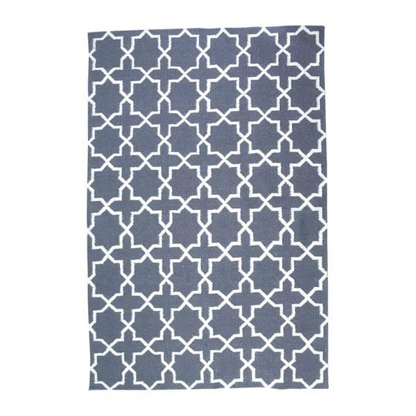 Vlněný koberec Geometry Vintage Cross Grey & White, 160x230 cm