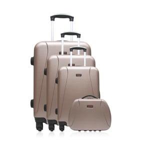 Set 3 hnědých cestovních kufrů na kolečkách a kufříku Hero Travel