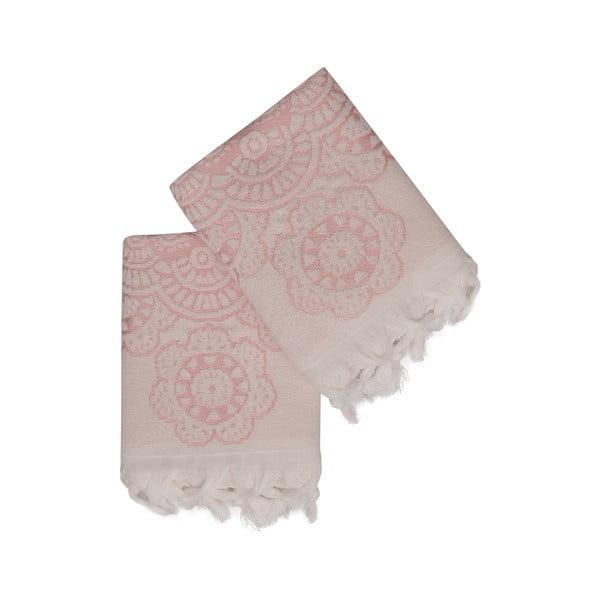Sada 2 růžových bavlněných ručníků Carmelo Lerro, 50 x 90 cm