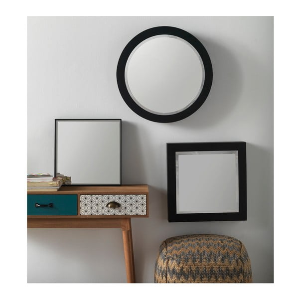 Černé nástěnné zrcadlo Geese Thin, 40x40cm