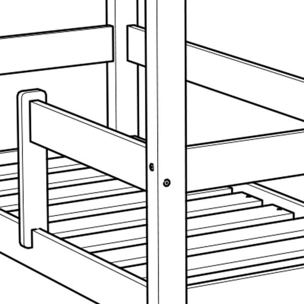 Dětská bílá postel z borovicového dřeva Benlemi Deny,80x200cm