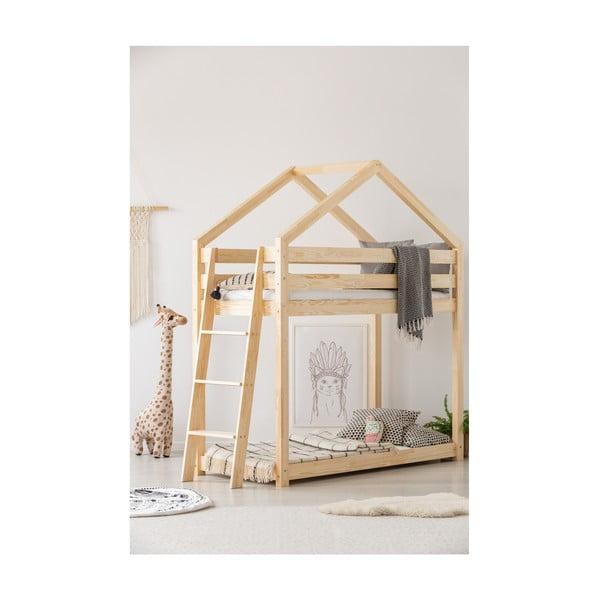 Cadru pat supraetajat din lemn de pin, în formă de căsuță Adeko Mila DMPB, 90 x 200 cm
