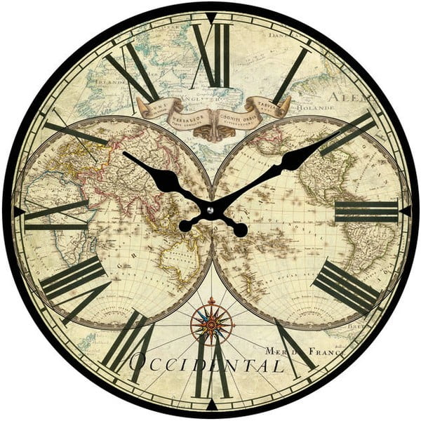 Skleněné hodiny Historická mapa, 30 cm