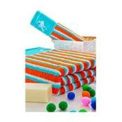 Set ručníků 50x100 a 150x80 cm, tyrkys/oranžové