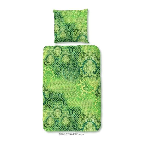 Obliečky na jednolôžko z bavlneného saténu Muller Te×tiels Neon Nature, 140×200 cm
