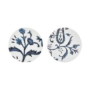 Sada 2 dlaždiček s modrým květinovým motivem Villa Collection