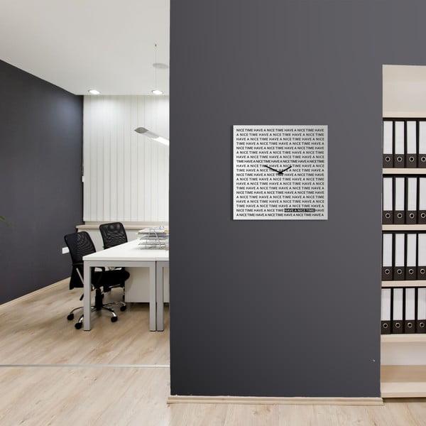 Nástěnné hodiny dESIGNoBJECT.it Nice Time White,50x50cm