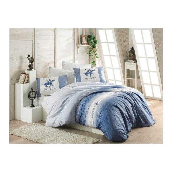 Modré povlečení z ranforce bavlny s prostěradlem na dvoulůžko BHPC Gerro Azul, 200 x 220 cm