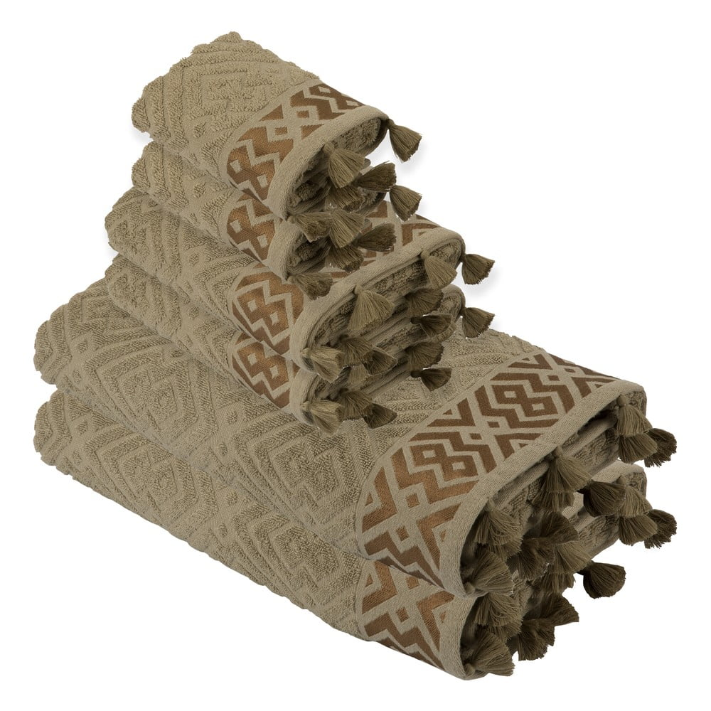 Sada 6 khaki hnědých bavlněných ručníků Bella Maison Mosaic Towel