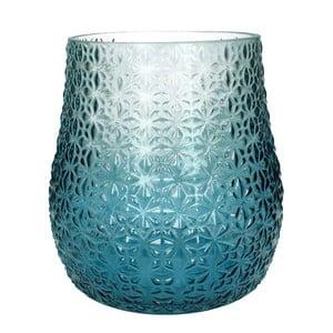 Modro-bílá skleněná váza HF Living, 28 cm