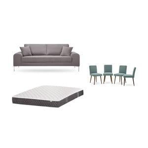 Set třímístné hnědé pohovky, 4šedozelených židlí a matrace 160 x 200 cm Home Essentials