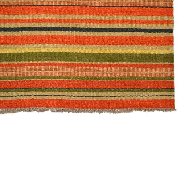 Ručně tkaný koberec Orange Green Stripes, 140x200 cm