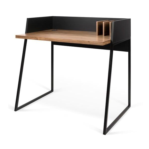 Czarne biurko z elementami z dekorem drewna orzecha TemaHome Volga Walnut