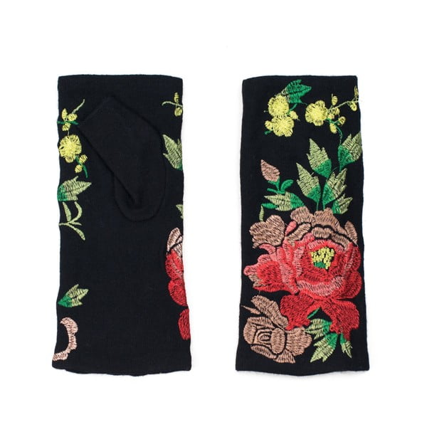 Černé rukavice s detailem květiny Rosemary