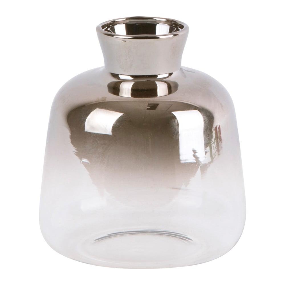 Skleněná malá váza PT LIVING Silver Fade, výška 10 cm