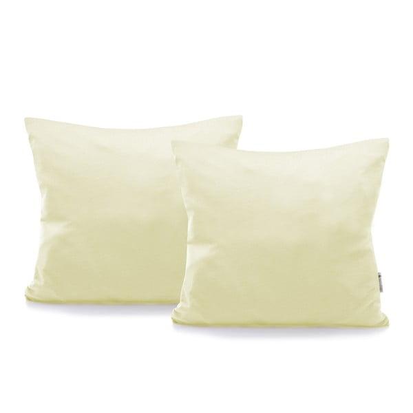 Komplet 2 kremowych bawełnianych poszewek na poduszki DecoKing Amber Cream, 40x40 cm